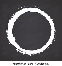 Round Frame, grunge textured hand drawn element, illustration on chalkboard background.