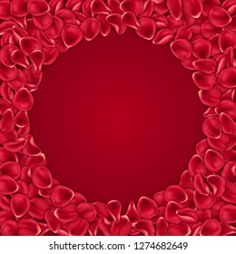 Round frame made of red rose petals. Valentines Day card template