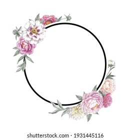 Round frame with peonies. Floral template for a wedding invitation cards and greeting cards. Isolated object on white background.  Hand drawn botanical illustration.