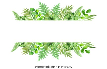 Round frame with watercolor tropical leaves design. Isolated on white background. Hand painted illustration can be used for logo, wallpaper, textile, polygraphy, wedding invintation