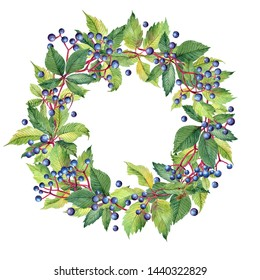 Round frame with watercolor wreath of grape leaves and berries.  Wild grapes. Place for your text. Perfect for greetings, invitations, announcement, web and wedding design. Raster.