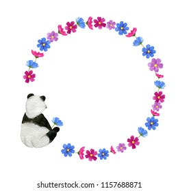 round frame of wildflowers with monochrome hand-drawn funny panda watercolor illustration isolated on a white  background. Useful for child book, wrap, textile, postcard, ad, diary, journal, note