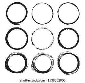 Round Frames, grunge textured hand drawn elements set, illustration.