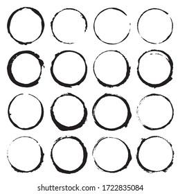 Round Frames, grunge textured hand drawn elements set, illustration.