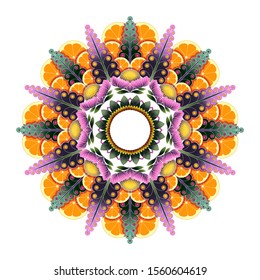 Round fruit and flower mandala. Boho mandala in orange, yellow and green colors. Mandala with floral patterns. Yoga pattern