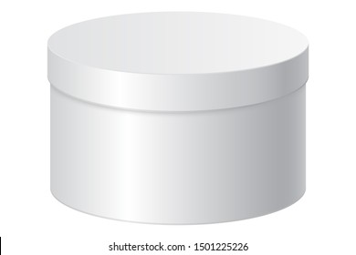 Round gift box. White blank package.  3d illustration isolated on white background. Raster version