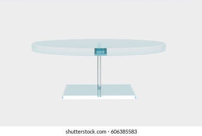 round of glass table by 3D rendering