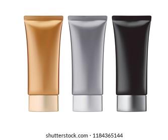 Round glossy plastic jar for cosmetics. 3d illustration set