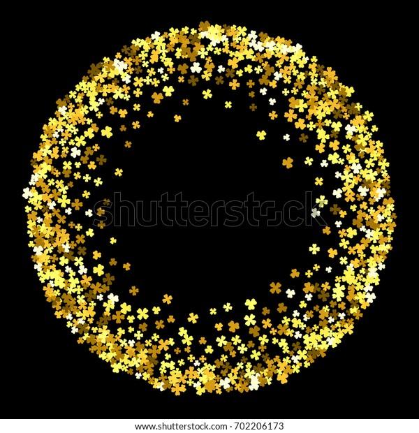Round gold frame or border of random scatter clover leaves. Elegant St. Patricks day design for festive banner, greeting card, postcard, invitation, flyer, poster.
