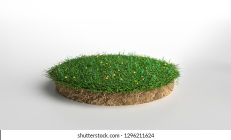 Round green grass with flowers land piece isolated on white background. 3D illustration