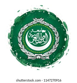 Round grunge flag of Arab League with splashes in flag color. Raster copy.