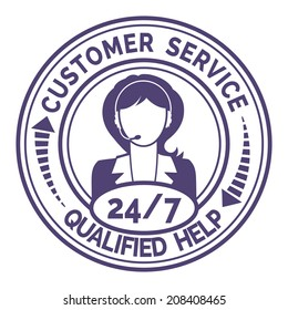 Round icon for non stop customer service with a professional female support operator providing through headset live qualified help and useful information  on white
