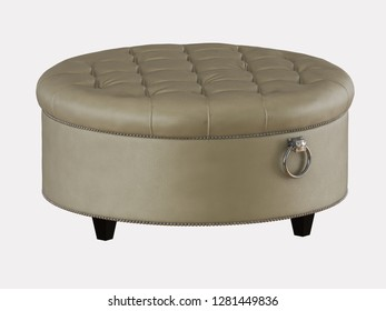 Round leather beige pouf capitone on a white background 3d rendering