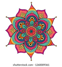 Round mandala on white isolated background.  boho mandala in green and pink colors. Mandala with floral patterns. Yoga template