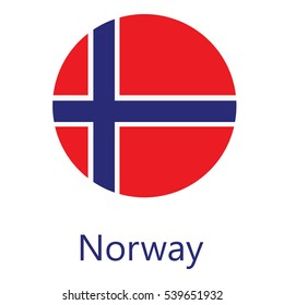 Round Norway flag raster icon isolated, Norway flag button