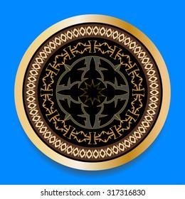 Round ornament pattern hand drawn. Abstract figure Art Deco Monogram