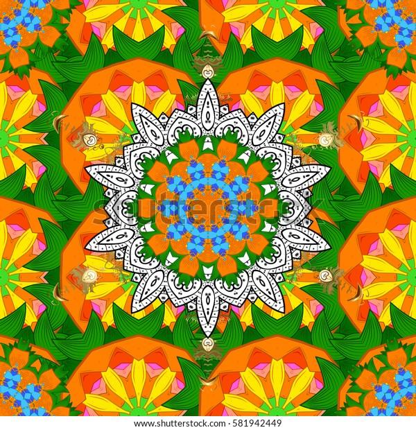 Round Ornament Pattern on a background. Spiritual and ritual symbol of Islam, Arabic, Indian religions. Colored Mandala. Oriental motifs. Geometric circle elements.