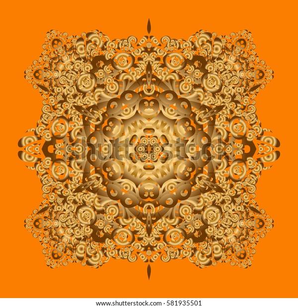 Round Ornament Pattern on a orange background. Golden Mandala. Spiritual and ritual symbol of Islam, Arabic, Indian religions. Geometric circle elements. Oriental motifs.