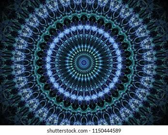 round ornamental blue ornate kaleidoscopic mandala design with intricate detailed design on a black background