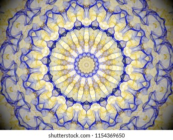 a round ornate colourful yellow and blue kaleidasopic mandala abstract design with intricate concentric symmetry and fine details