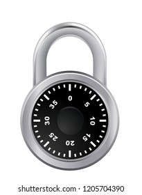 round padlock combination security safety password protection illustration