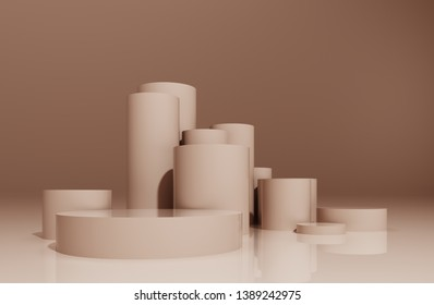 Round pedestal, podium, stand, platform for cosmetics. Abstract composition of geometric objects, light pastel flesh background for the presentation of goods and advertising -3D, render, illustration.