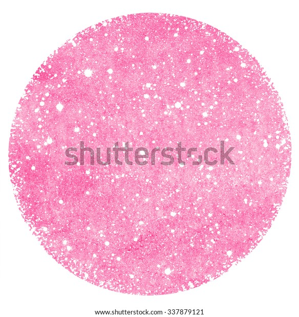 Round pink watercolor background with splash texture and rough, uneven edges. Circle shape. Valentines day painted template. Falling snow or stars hand drawn pattern on watercolour backdrop.