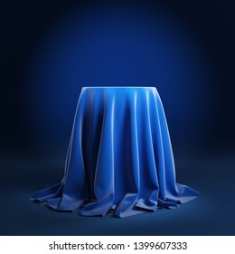 Round podium covered with blue cloth on a blue background. 3d illustration