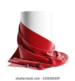Round podium covered with red silk cloth. Isolated on a white background with clipping path. 3d illustration