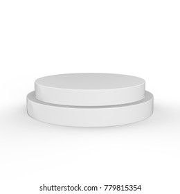 Round Podium on isolated white background, 3d illustration.