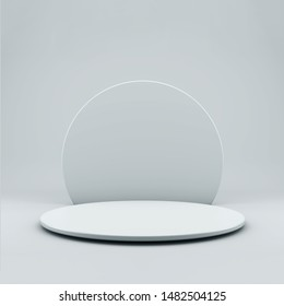 Round podium or pedestal on light background with copy space. 3d illustration.