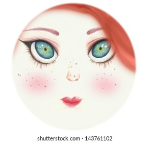 round portrait of a red hair green eyed cute girl