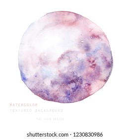 Round purple abstract watercolor texture