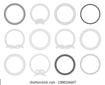 Round rope frame. Circle ropes, rounded border and decorative marine cable frame circles. Rounds cordage knot stamp or nautical twisted knots logo isolated  icons set