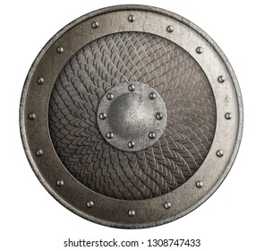 Round rustic metal shield covered by scales isolated 3d illustration