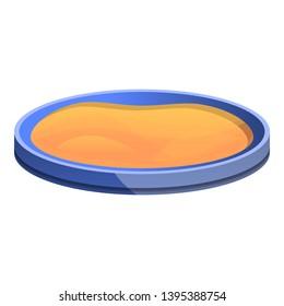 Round sandbox icon. Cartoon of round sandbox icon for web design isolated on white background