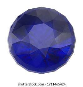 Round Sapphire 3D illustration on white background