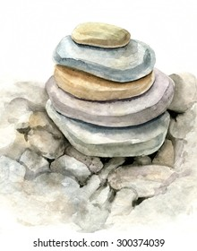 round sea stones drawing by watercolor, pebbles, lying on one another, cairn, hand drawn artistic painting illustration