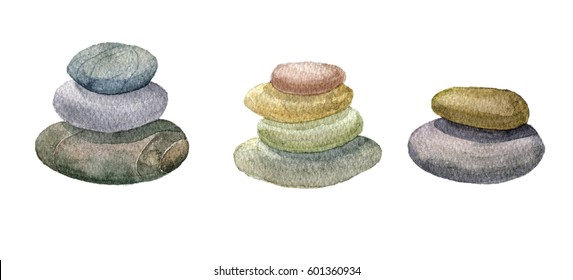 round sea stones lying on one another drawing by watercolor, cairn, hand drawn illustration
