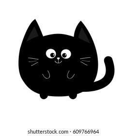 Round Shape Black Cat Icon Cute Funny Cartoon Smiling Character Kawaii Animal Tail