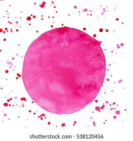 round shaped hand painted watercolor blot with splashes and spatters in pink color, isolated on white, perfect abstract background