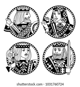 Round shapes with faces of playing cards characters in black and white colors. Original vintage design for  coloring book