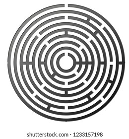 round silver labyrinth bas relief illustration