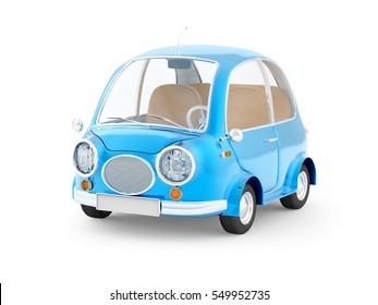 round small blue car in retro style isolated on a white background. 3d illustration.