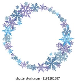 Round Snowflake Frame Isolated on White Background. Watercolor Snowflake Decoration for Winter Season, Christmas, New Year, and Winter Holidays Print, Greeting Card, Poster, Display, Packaging etc.
