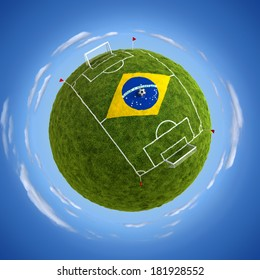 Round soccer stadium with Brazil flag in the middle