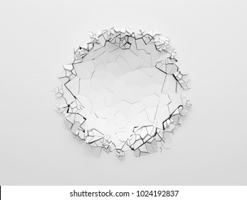 Round or spherical dent on the white wall, front view with copy space. 3d illustration.