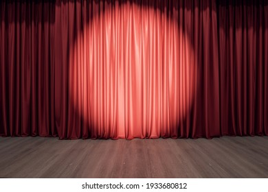 Round spotlight on red curtain on the stage with wooden floor. 3D rendering