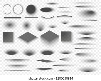 Round and square isolated floor transparent shadows. Dark oval shadow and circle shades with soft edges