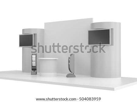 Round Stand Design Exhibition Tv Display Stock Illustration Impressive Exhibition Tv Display Stands